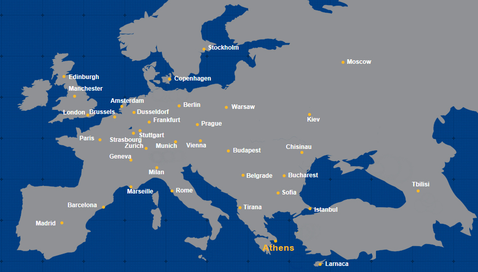 DESTINATION MAP | All Direct & Connecting Flights of Aegean ... on